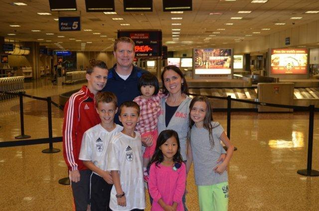 Weeks family at airport